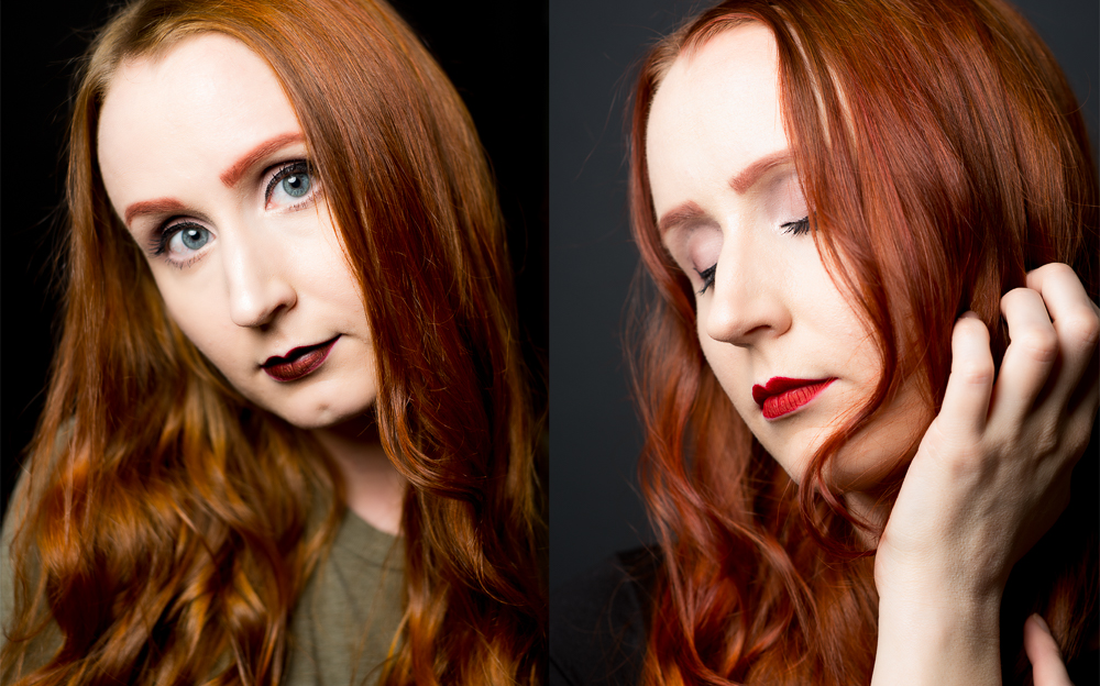 Left: Young woman with orange/red hair, Right: Same woman with red/auburn hair